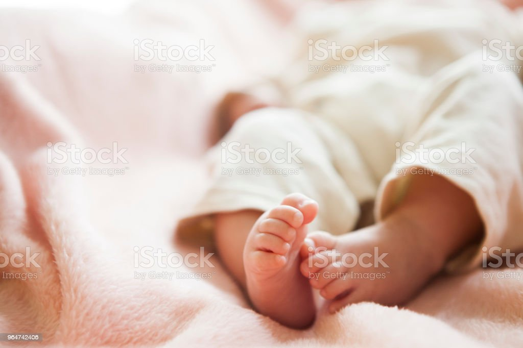 The baby 's feet. stock photo