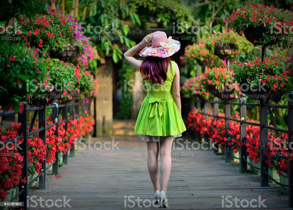 The back of a beautiful young woman stock photo