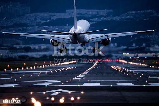 An airplane take off the airport.