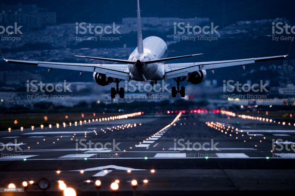 The back of an airplane to take off. stock photo