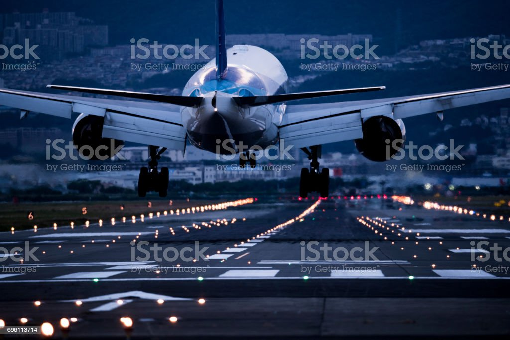The back of the airplane at the depot. stock photo
