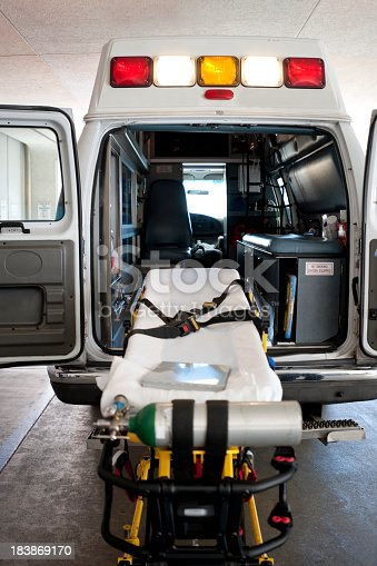 istock The back on an ambulance with a gurney for patient transport 183869170