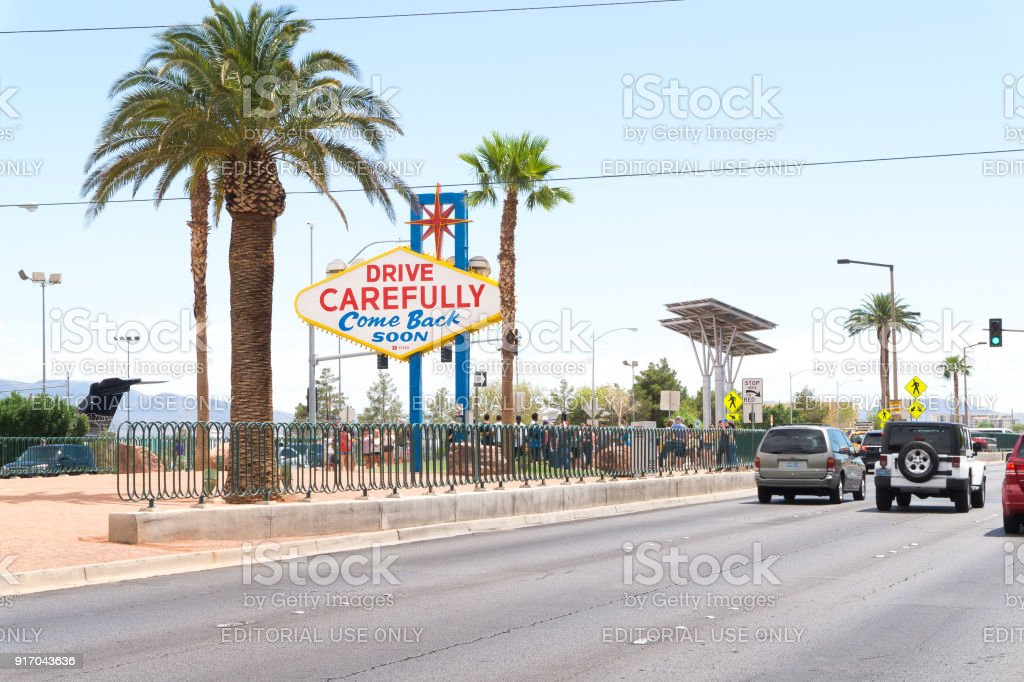 The back side of the Las Vegas sign seen when leaving the city. stock photo