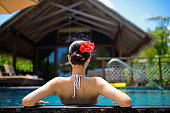The back view of a bikini woman relax in swimming pool in front of luxury beach house
