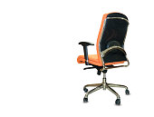 istock The back view of office chair from orange cloth. Isolated 1179992496