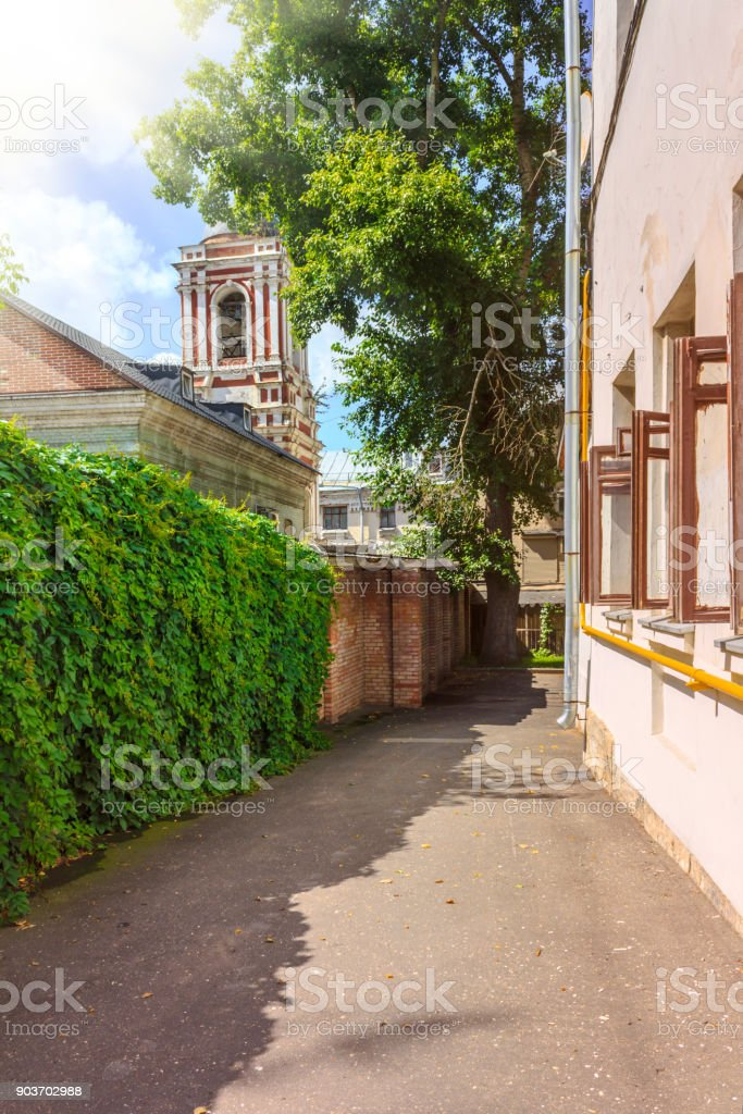 "The back yard of the ""Yaroshenko' lodging house of Khitrovskaya Square in Moscow, Russia. stock photo"