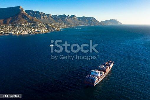Shot of a cargo ship at sea