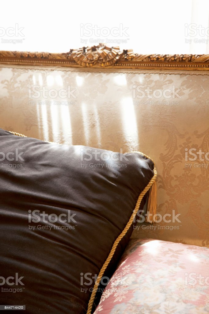 The backrest of the sofa with cushions stock photo