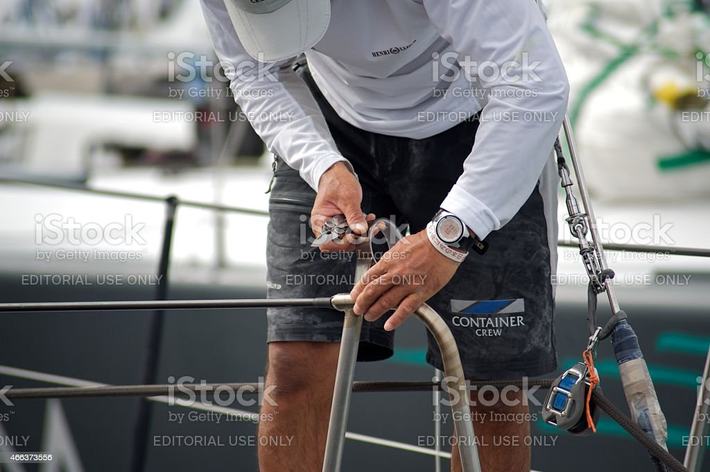 The backstage of the regattas of the Audi MedCup stock photo