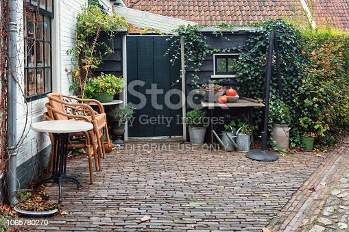 Bourtange, The Netherlands, November 7, 2017: The backyard of a house in Bourtange the Dutch fortified village in the province of Groningen in the north of the Netherlands