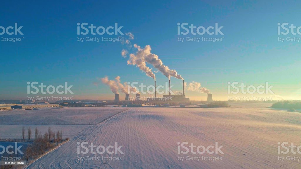 The bad ecology. The thermal power plant near by big city in the cold...