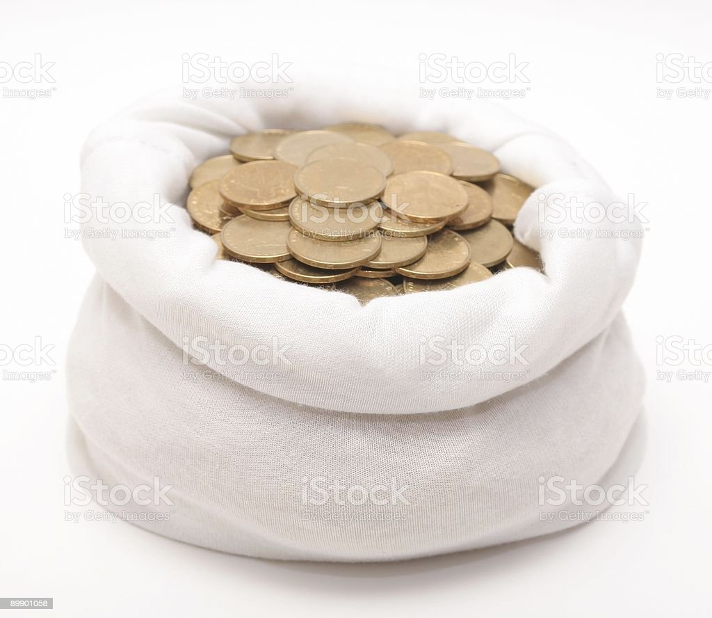 The bag with coins royalty-free stock photo
