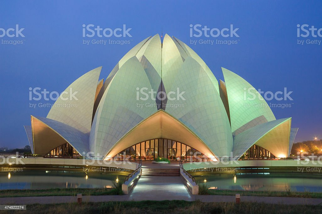 The Bahá'í Lotus Temple, New Delhi, India stock photo