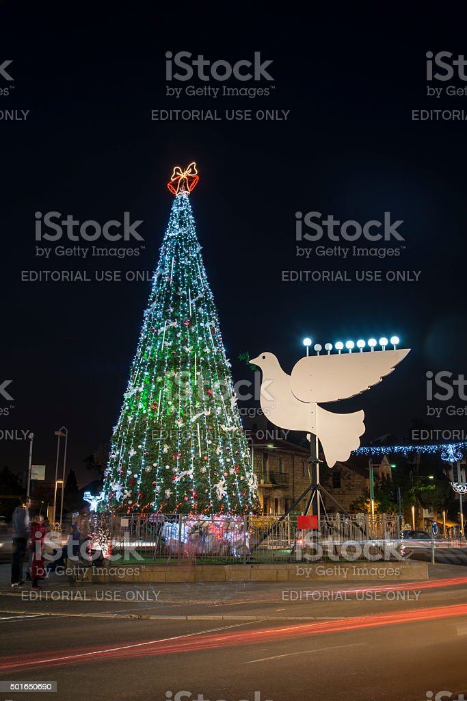 the Bahai gardens decorated for the holidays stock photo