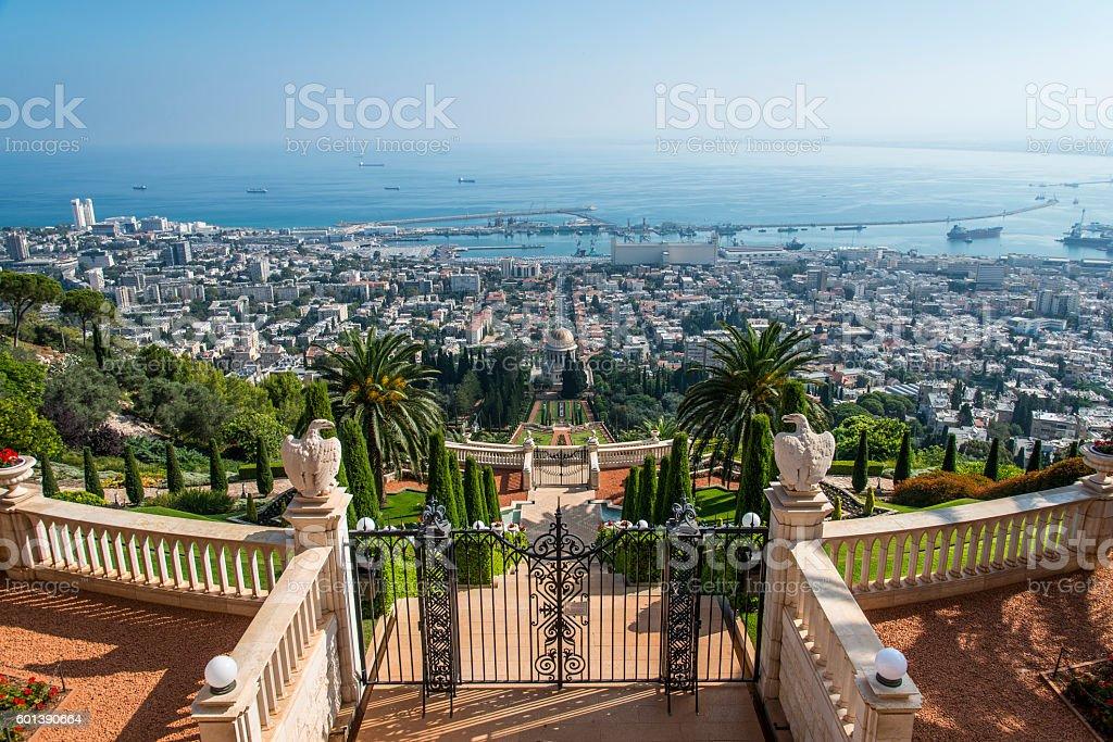 The Bahai gardens in Haifa, Israel stock photo