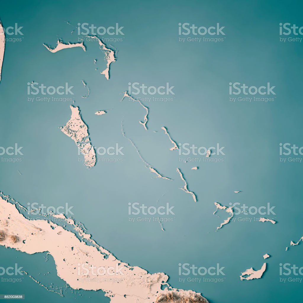 The Bahamas 3D Render Topographic Map Neutral stock photo