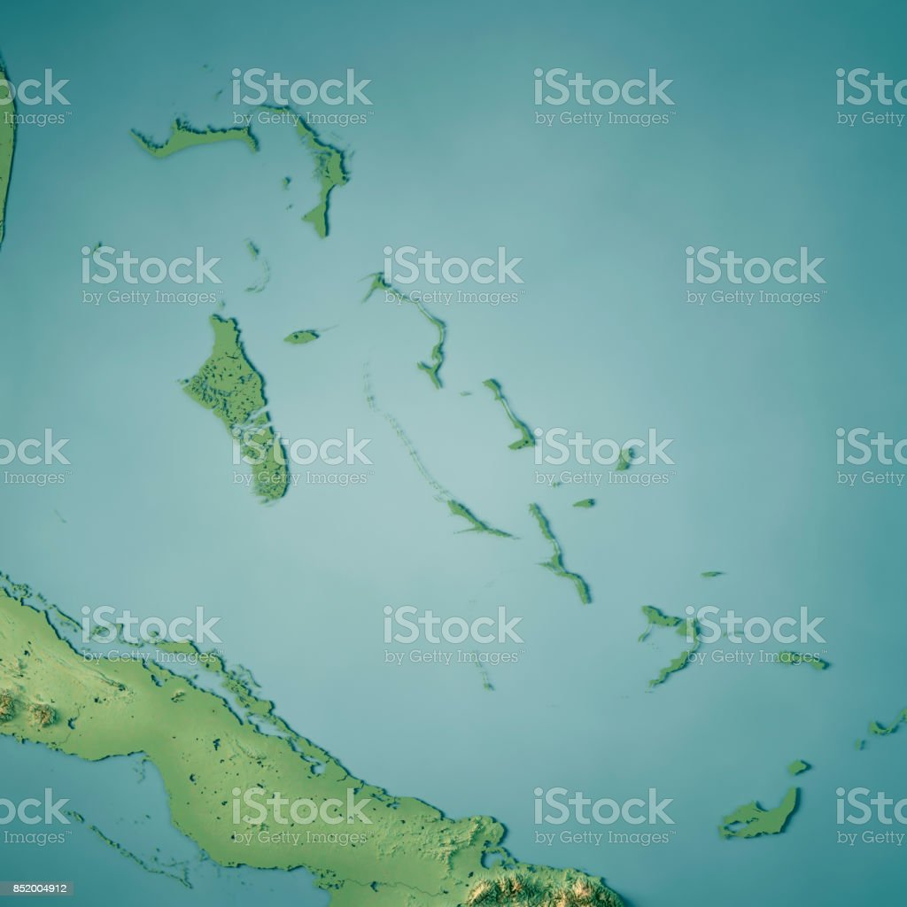 The Bahamas 3D Render Topographic Map stock photo