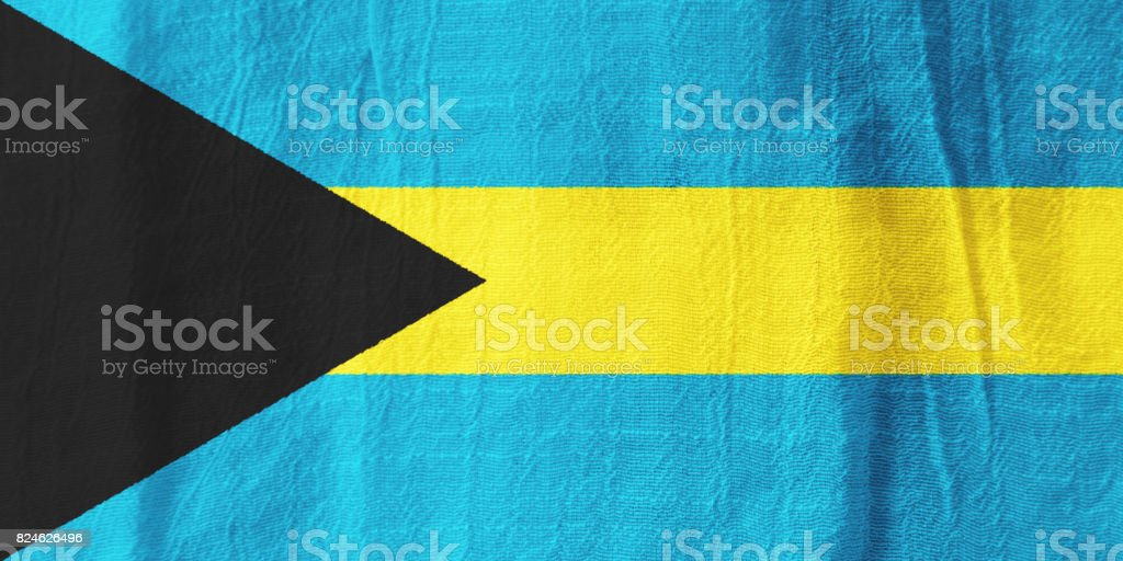 The Bahamas fabric flag  national flag from fabric for graphic design. stock photo