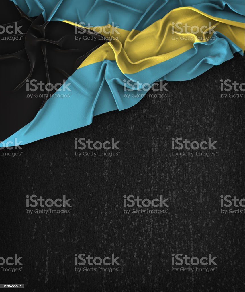 The Bahamas Flag Vintage on a Grunge Black Chalkboard With Space For Text royalty-free stock photo