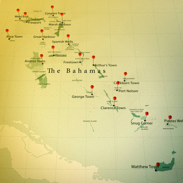 The Bahamas Map Square Cities Straight Pin Vintage stock photo