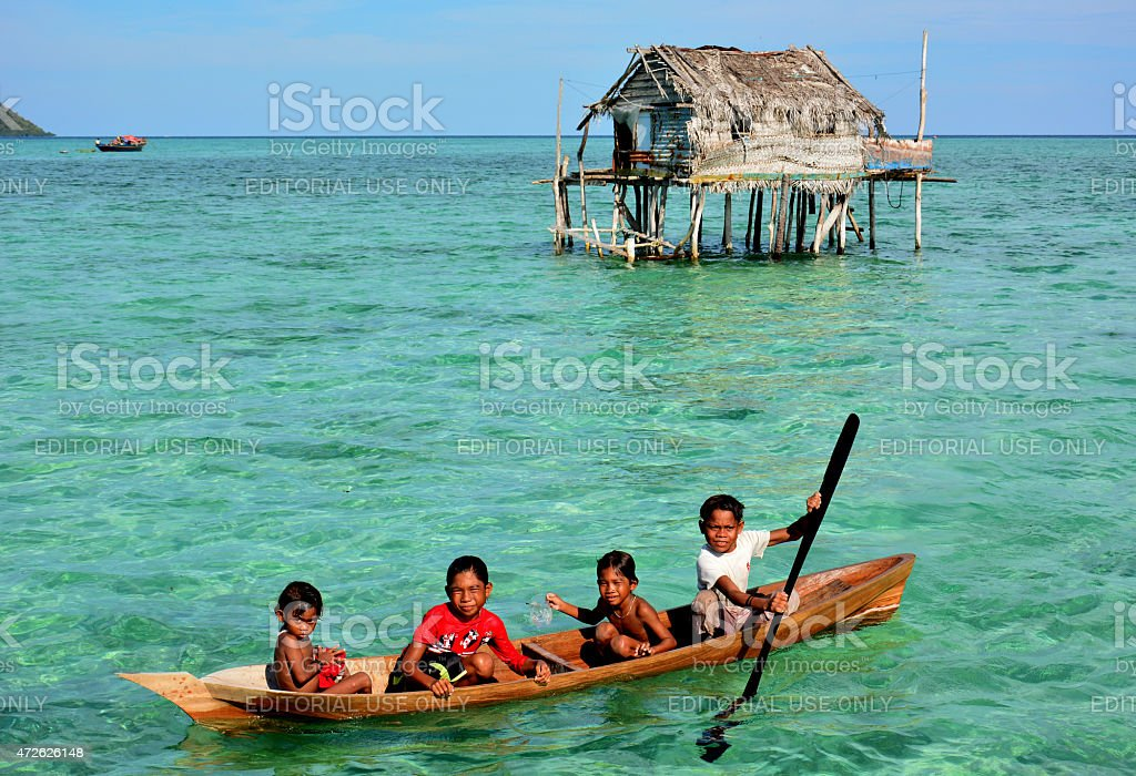 The Bajau Sea Gypsies of Borneo, Sabah, Malaysia - stock photo