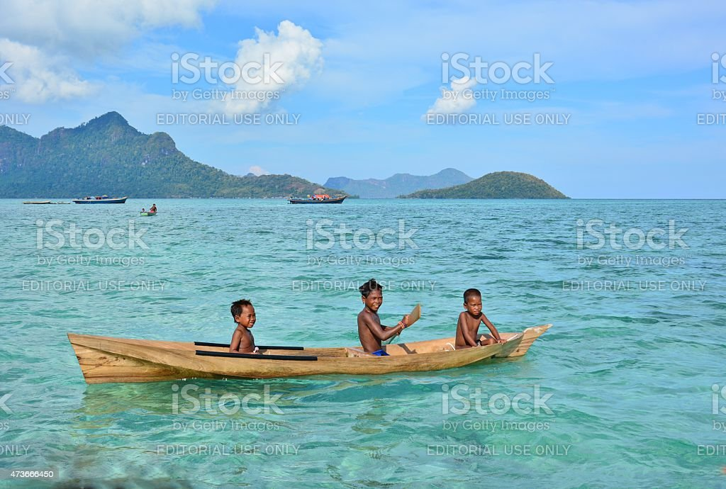 The Bajau Sea Gypsies of Borneo, Sabah, Malaysia stock photo