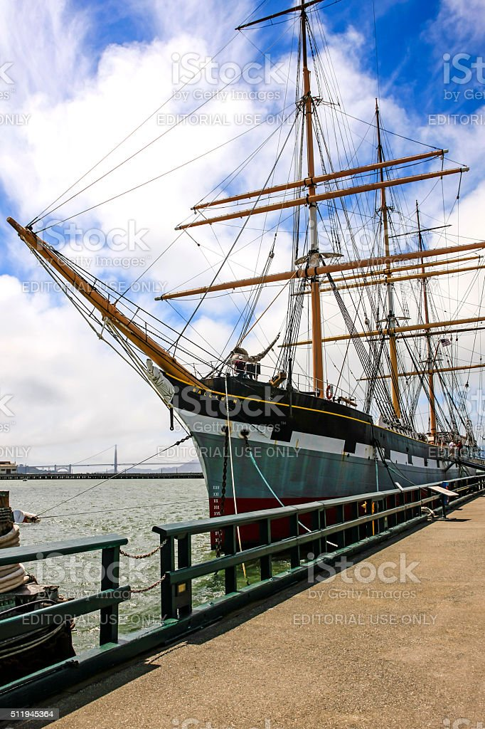 The Balclutha three-masted steel ship of 1886 in San Francisco stock photo