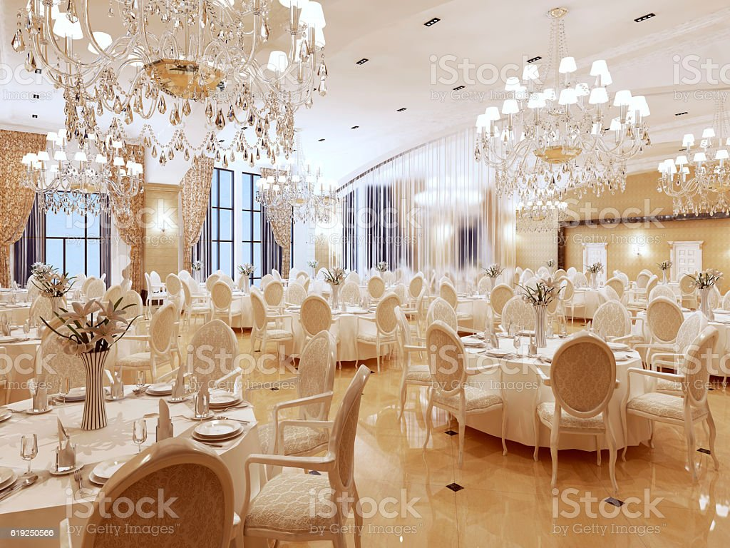 The ballroom and restaurant in classic style. stock photo
