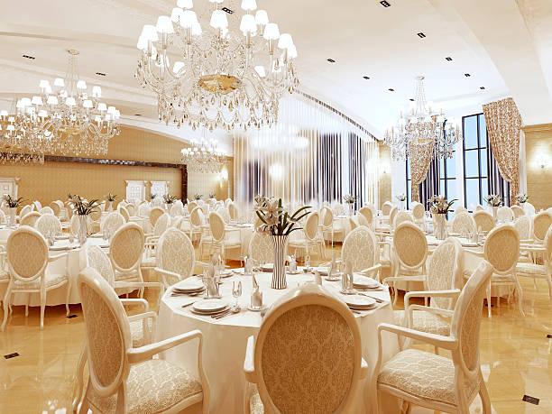 the ballroom and restaurant in classic style. - sala balowa zdjęcia i obrazy z banku zdjęć