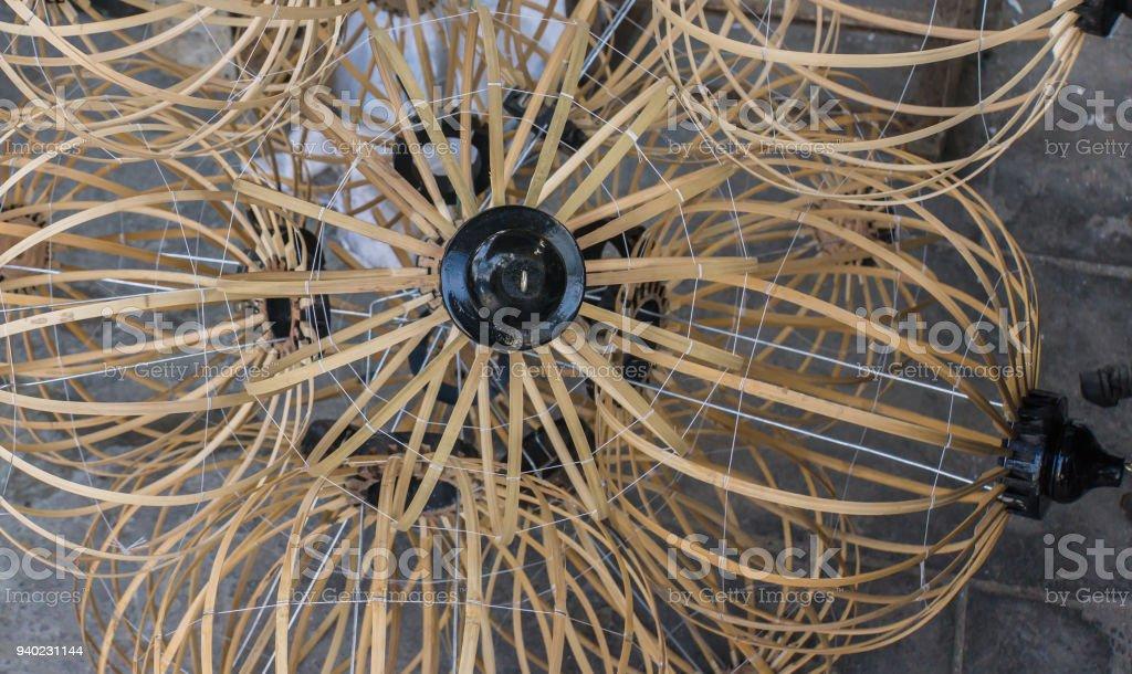 the bamboo frames for silk lanterns stock photo