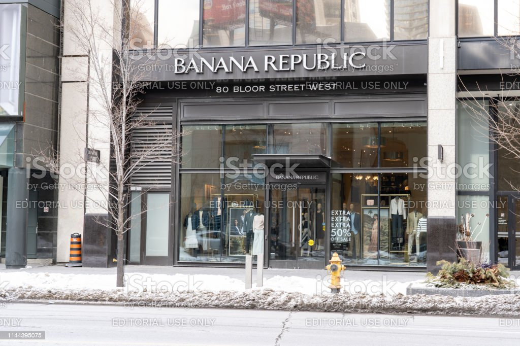 The Banana Republic store at the Bloor-Yorkville Business Area in Toronto. stock photo