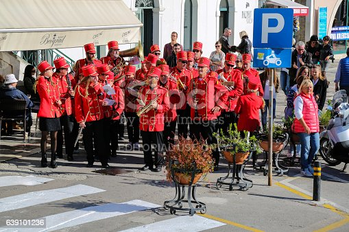 Herceg Novi, Montenegro - October 28, 2016: A band are playing music and marches through the city of Herceg Novi on the independence day