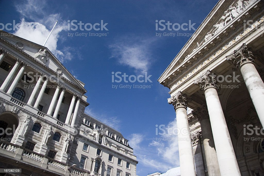 The Bank of England and the old London Stock Exchange stock photo