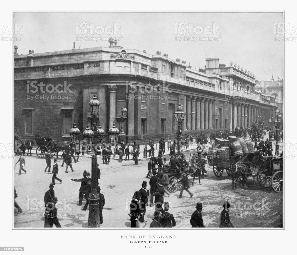 The Bank of England, London, Antique London Photograph, 1893 stock photo