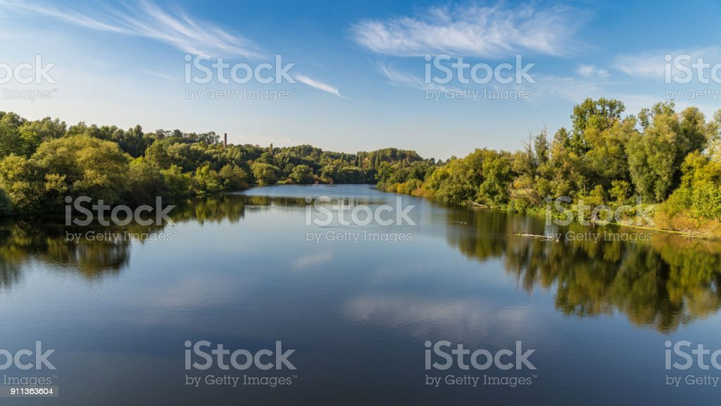 The banks of the River Ruhr near Muelheim, Germany stock photo