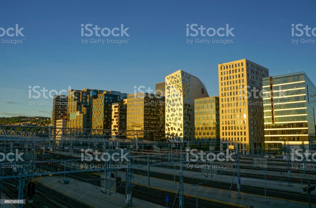 The Barcode Buidings in Downtown Oslo Norway stock photo