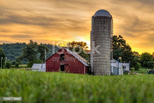 The barn during a moody sunset in the Berkshire Mountains