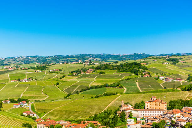 The Barolo Castle in Barolo village,  Piedmont region, north Italy stock photo