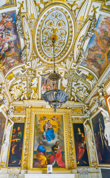 ROME, ITALY- OCTOBER 10, 2017:  The Baroque Style Chapel in the Musei Capitolini dedicated to Mary and the saints Peter and Paul stock photo