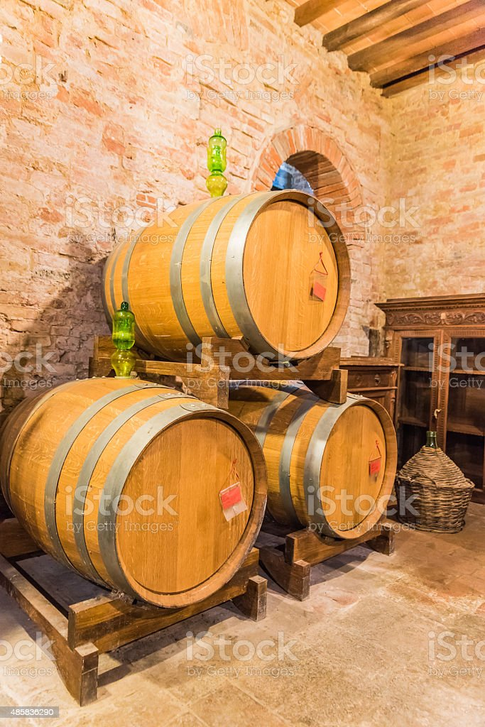 The barrel cellar of Montepulciano red wine stock photo