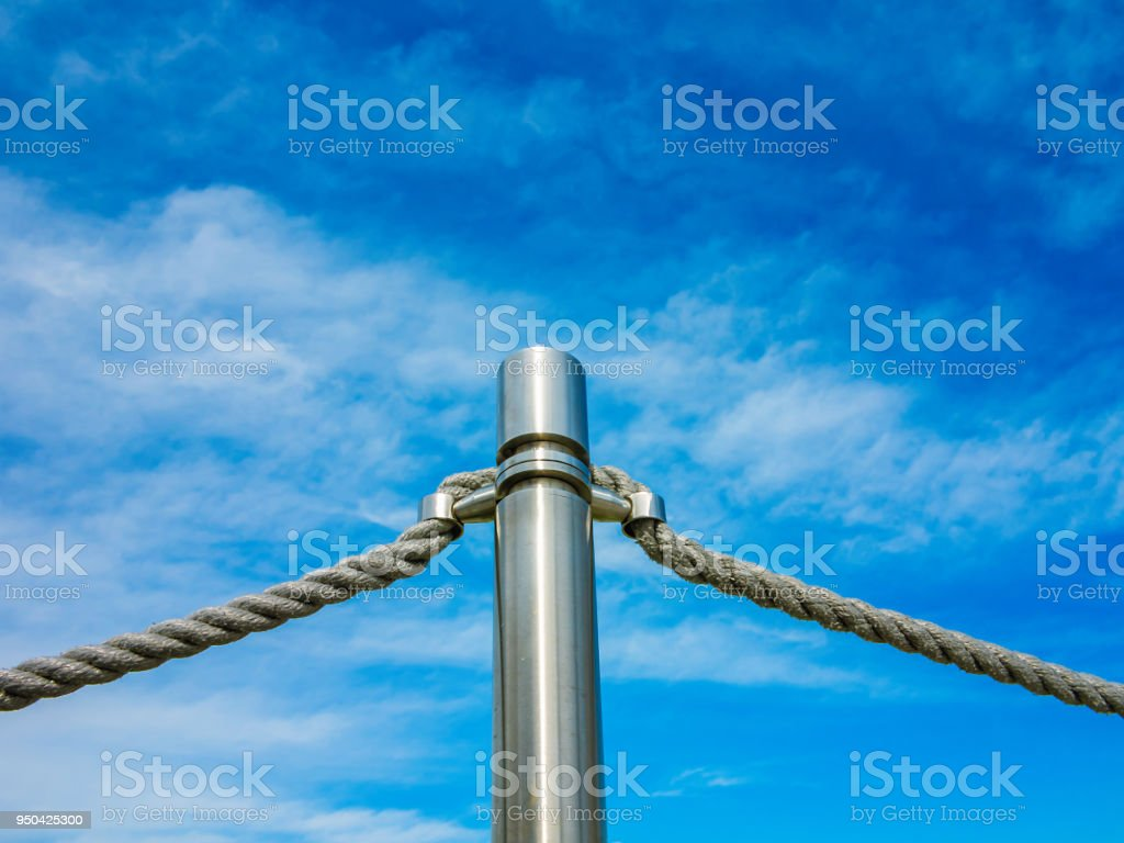 The Barrier Fence In The Form Of An Iron Pillar And Ropes Of The ...