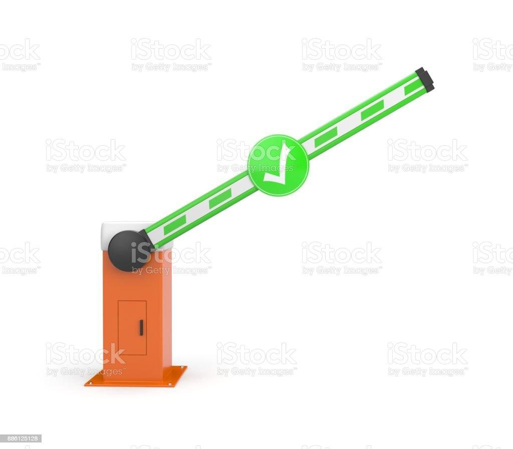 Die Schranke ist offen - automatisches System für die Sicherheit. Sicherheit-Insel. 3D illustration – Foto