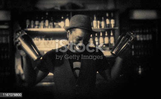 bartender, preparing, drink, cocktail shaker, Berlin, bar, retro style