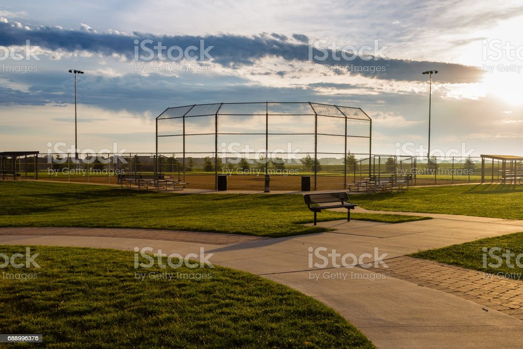 the baseball diamond is ready for a weekend of games stock photo