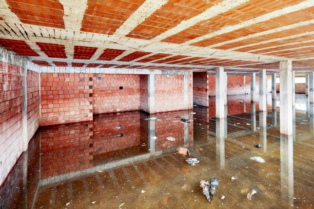 the basement of a building under construction is filled with dirty flood water - basement stock pictures, royalty-free photos & images