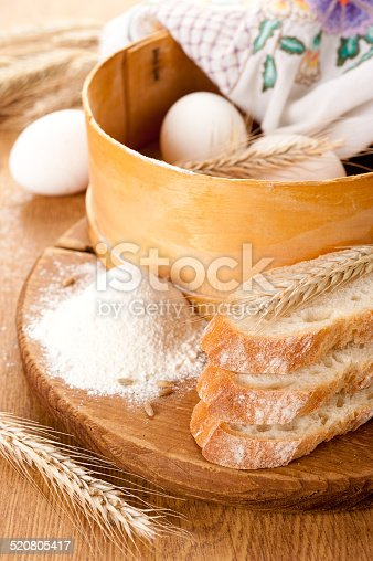The basic ingredients for baking, white bread and wheat ears