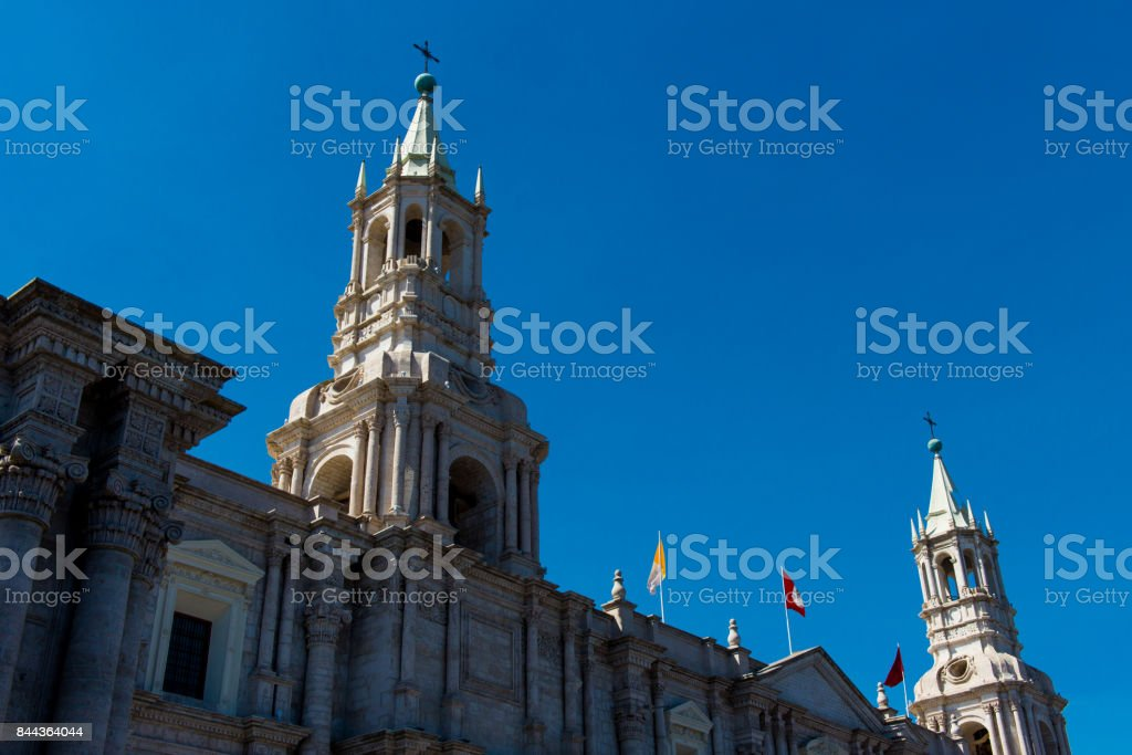 The Basilica Cathedral in Arequipa, Peru stock photo