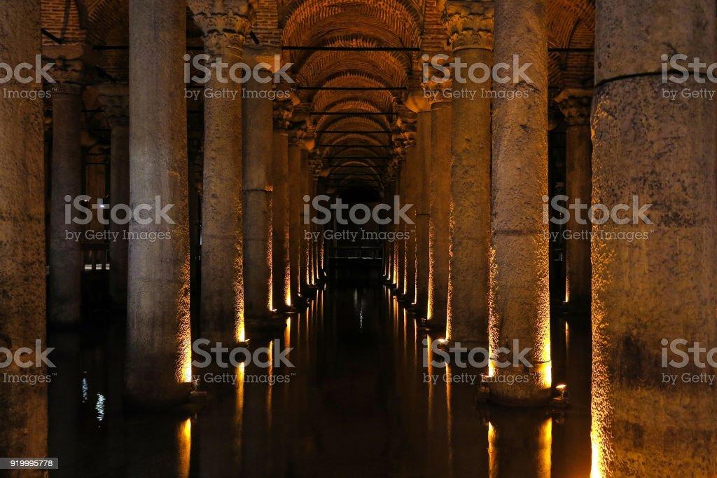 The Basilica Cistern - underground water reservoir. Istanbul, Turkey stock photo
