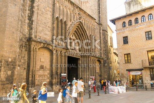 BARCELONA, SPAIN - SEPTEMBER 2: The Basilica de Santa Maria del Pi 14th century in the Gothic Quarter of the city. Barcelona, Spain