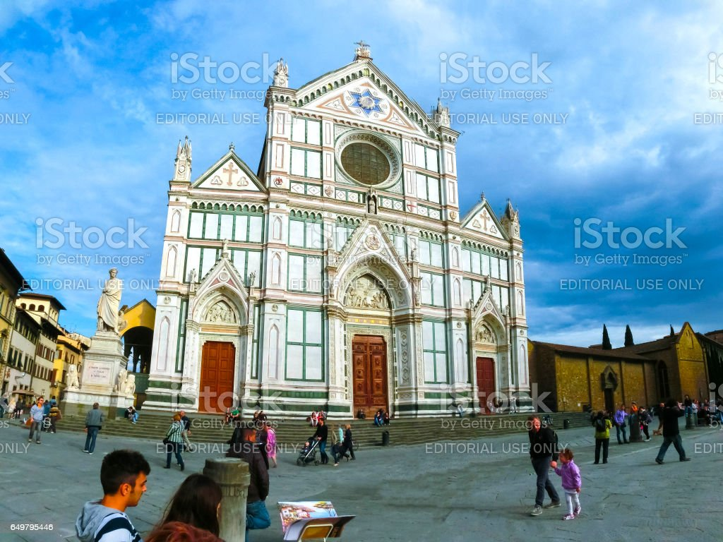 Florence, Italy - May 01, 2014: The Basilica di Santa Croce - famous Franciscan church on Florence, Italy stock photo